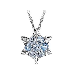 Jeerui Necklace Snowflake Pendant Necklace Rhinestone Necklace for Women Girls