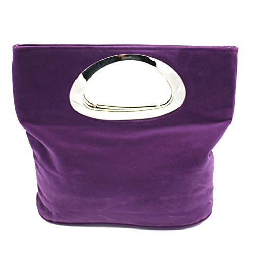Rounded Handles Women Clutches Luxury Handbag Envelope Clutch Bag Tote Bags Purple - Baguette Purple Ring