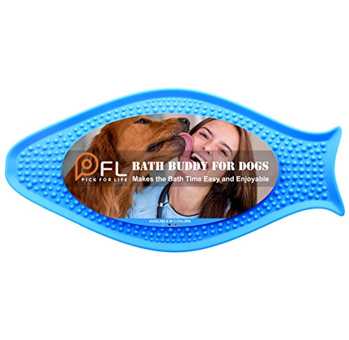 PICK FOR LIFE Bath Buddy for Dogs - Dog Bath Distraction Toys Lick Pad - Makes Easy and Enjoyable for Pet Bathing, Grooming, and Dog Training (Blue, Fish) - Butter Pick
