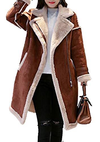 GenericWomen Winter Warm Zipper Belted Suede Lamb Wool Coat Shearling Jackets 1 M