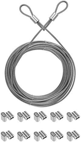 iplusmile ステンレス鋼ケーブルワイヤーロープセット2穴アルミニウムスリーブフィッティング、ワイヤーロープおよびケーブル用(シルバー)