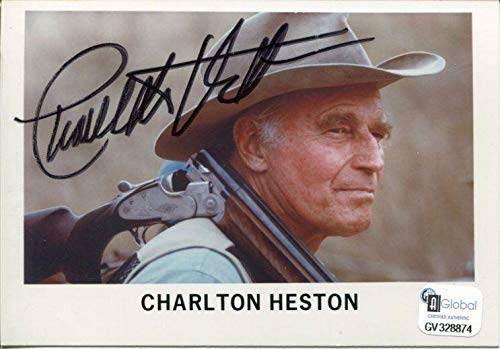 Charlton Heston Ben Hur Planet of the Apes NRA Rifle Signed Autograph Photo COA