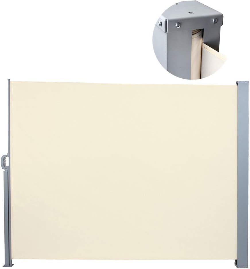 YOGANHJAT Toldo Lateral de Aluminio Separador retráctil Protección Solar Intimidad terraza Enrollable Cenador Carpa Pérgola para Exterior Plegable Protección Solar,Beige,160x300cm/118x62.9in: Amazon.es: Hogar