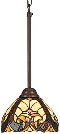 Capulina Tiffany Style Kitchen Lighting, 1-Light Stained Glass Lighting Fixtures, 8 inch Wide Lampshade Mini Pendant Light, Victorian Kitchen Island Lighting, Tiffany Hanging Pendant Light