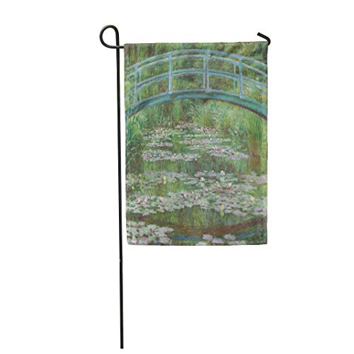 Semtomn Garden Flag 12x18 Inches Print On Two Side Polyester The Japanese Footbridge by Claude Monet 1899 French Impressionist Painting Oil Home Yard Farm Fade Resistant Outdoor House Decor Flag ()