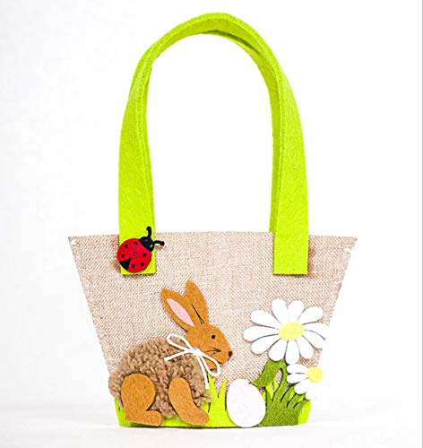 Easter Bunny Basket Handbag Bags Fabric Tote Bag for Easter Eggs Toys Candy Gifts Spring Easter Decorations