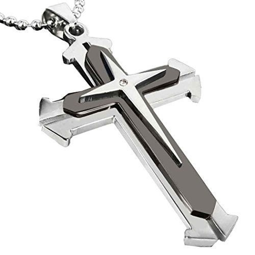 (TOPUNDER Unisex Stainless Steel Cross Pendant Necklace Chain by)
