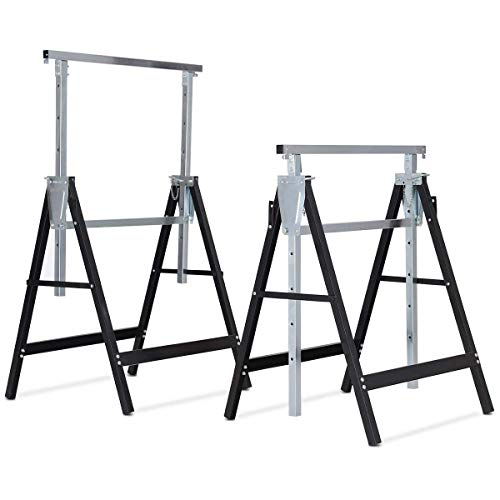 Goplus Folding Sawhorse Pair, 2-Pack Height Adjustable Saw Horses, Heavy Duty Portable Trestle, 440 lbs Weight Capacity Each