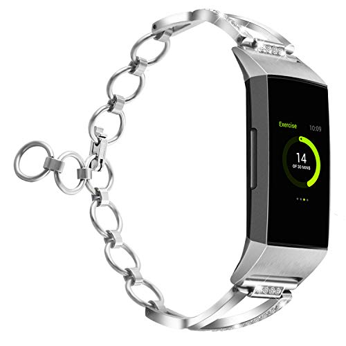 YiJYi Stainless Steel Band Compatible Fitbit Charge 3,Women Metal Repalcement Bracelet Wristband X-Link Men Sport Strap for Fitbit Charge 3 Watch Accessories,Large Small (Silver-S/M(5.5-7.2))