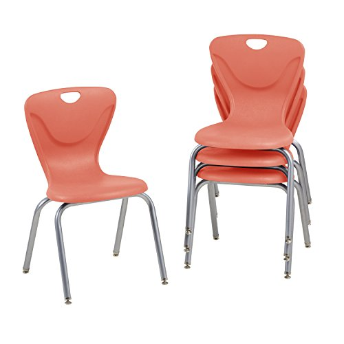 "UPC 763960607565, ECR4Kids 18"" Contour School Stacking Student Chair, Molded, Tangerine (Set of 4)"