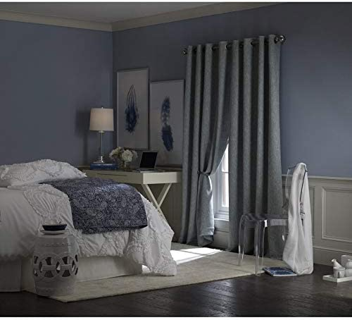 allen roth PIERSTON 84-in Dusty Blue Polyester Grommet Blackout Thermal Lined Single Curtain Panel