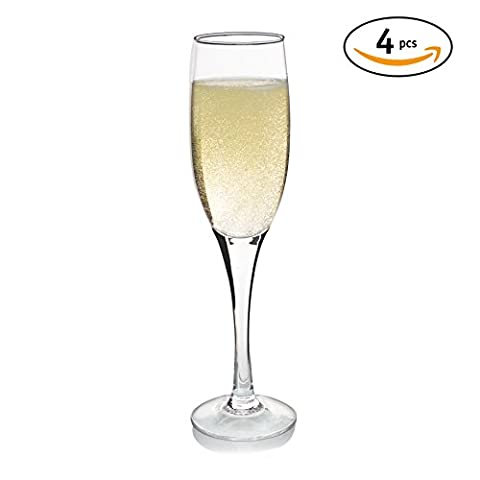 Dobaccio Champagne Flutes - Finest Crystal Clear Drinking Glass - Set of 4 glasses