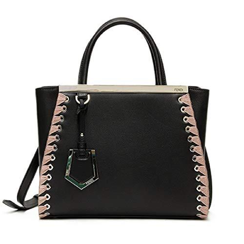 Fendi Shopping Bag 2 Jours Calf Leather Dark Red Dollar Pink Trim Tote 8BH253