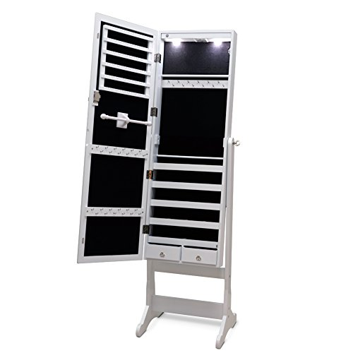 Giantex Lockable Mirrored Jewelry Cabinet Armoire Organizer Storage w/Stand & LED Lights (White)