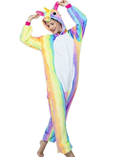 Unicorn Adult Onesie for Women Men Pajamas Animal Cosplay Halloween Costume - Rainbow - Medium