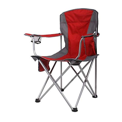 A-Qncie Chaise Pliante Portable avec Repose-Bras, Sac de Transport et de Rangement 100 kg rouge -