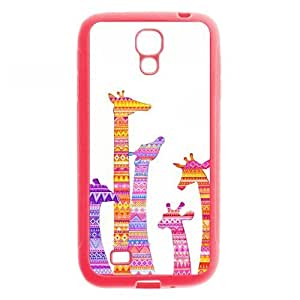 Aztec Tribal Giraffe Protective Light Pink Rubber Colorful Cover Case for SamSung Galaxy S4