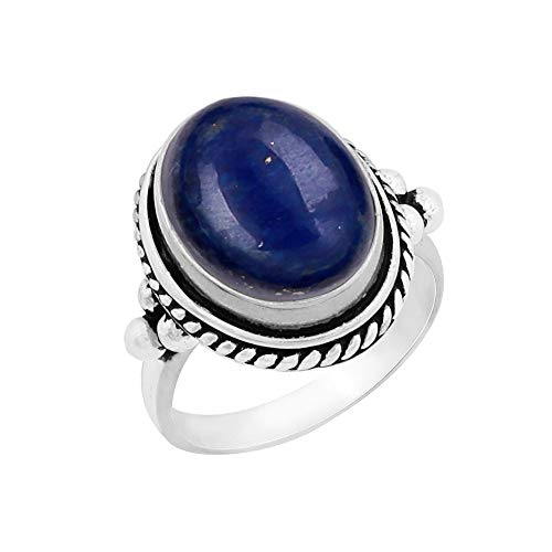 Oval Gemstone - Genuine Large Oval Shape Lapis Solitaire Ring 925 Silver Plated Vintage Style Handmade for Women Girls (Size-6.5)