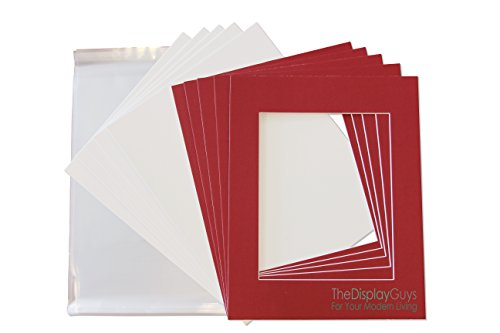 The Display Guys Pack of 25 Red Picture Photo Matting Mat Boards (White Core Bevel Cut) + Backing Boards + Clear Plastic Bags (25pcs Complete Set) (8