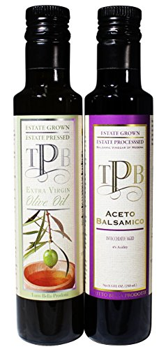 Extra Virgin Olive Oil Best EVOO Cold Pressed Pure Premium Estate Oil from California 250ml PLUS Aged Balsamic Vinegar di Modena Italy, Old World Tradizionale.250 ml (Coconut Oil First Pressed compare prices)