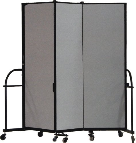 Room Leather Divider - Screenflex Heavy Duty Portable Room Divider (HFSL603-DG) 6 Feet High by 5 Feet 9 Inches Long, Designer Stone Fabric