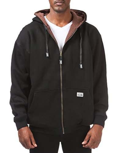(Pro Club Men's Full Zip Reversible Fleece and Thermal Hoodie, 2X-Large, Black/Brown)