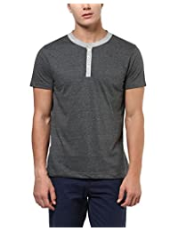 Aventura Outfitters Men's Henley Short Sleeves T-Shirt (Charcoal Melange)