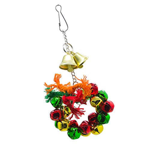 (Kesoto Small Animals Cage Ornaments Colorful Bells Wreath Ring Hamster Bird Swing Hanging Toy)