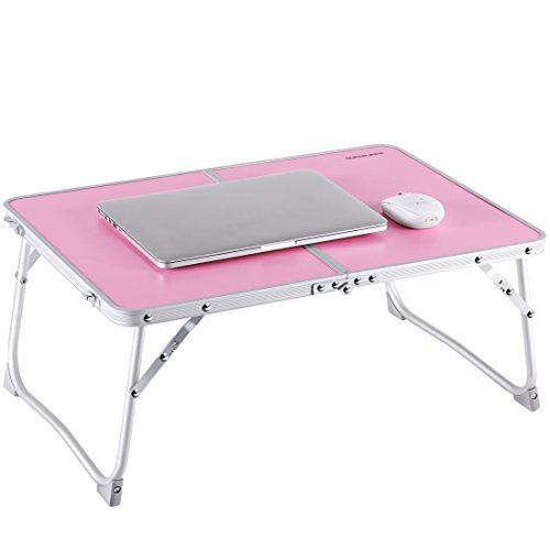 Laptop Table for Bed, Superjare Portable Outdoor Camping Table, Breakfast Serving Bed Tray with Legs - Pink