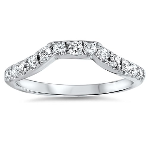.40ct Modern Curved Notched Geniune Diamond Band Enhancer 14K White Gold Ring