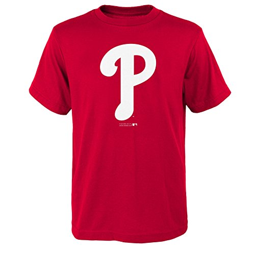 MLB Philadelphia Phillies Boys Primary Logo Short Sleeve Tee, Athletic Red, Size 10/12 ()