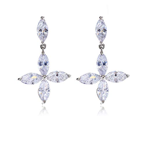 Silver Cubic Zirconia Bridal Earrings - Clear Marquise CZ Crystal Cross Design Fashion Flower Floral Dangle Drop Earrings for Women Wedding Party Prom Pageant Mother's Day Gift