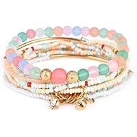 Teniu Girls Fashion Bead Bracelet Charm Bohemian Bracelet Vitality Layered Stretch Bracelets for Women Girls Jewelry