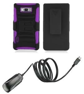 Bloutina LG Optimus Showtime - Accessory Combo - Black / Purple Heavy Duty Combat Case + Belt Clip Holster Kickstand +...