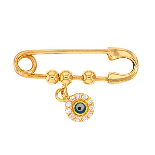 Solid 14k Yellow Gold Safety Pin Brooch with CZ Blue Evil Eye Charm (Gold 14k Pin)