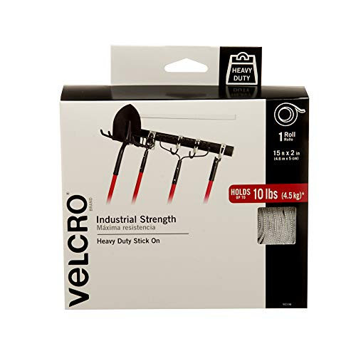 VELCRO Brand Industrial Strength Fasteners | Stick-On Adhesive | Professional Grade Heavy Duty Strength Holds up to 10 lbs on Smooth Surfaces | Indoor Outdoor Use | 15ft x 2in Tape, White ()