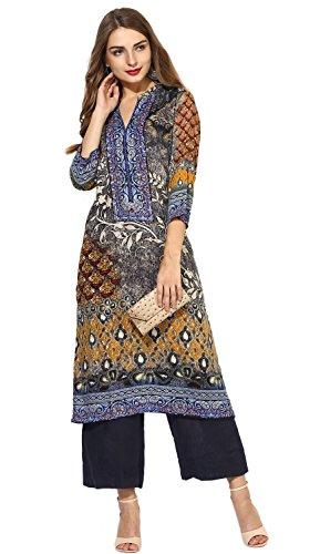 "Lagi Designer Rayon Straight Kurti for Women Printed Tunic Top Mandarin Collar ¾ th Sleeve Dress"" (XL-44)"
