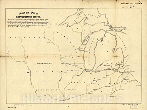 Historic 1850 Map | Map of The Northwestern States. Shewing [sic] What Proportion Lies North of The Parallel of South Bend of Lake Michigan. 30in x 24in
