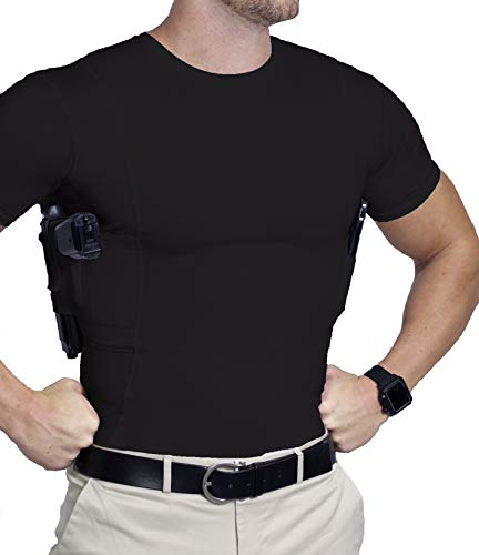 AC UNDERCOVER Concealed Carry Shirt for Men/CCW Tactical Clothing/Gun Holster Shirt Black