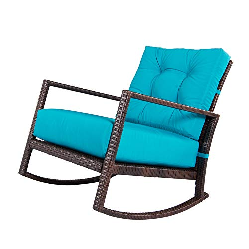 OUTROAD Rocking Wicker Chair Blue Lounge Chair With Thick Cushion For Outdoor, Porch, Garden, Backyard or Pool by OUTROAD