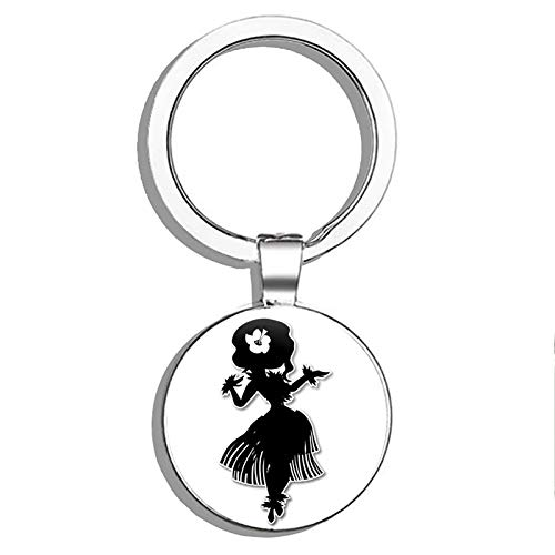 - 1080 Graphics Cute Dancer Hawaiian Luau Metal Round Metal Key Chain Keychain Ring