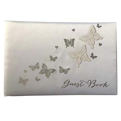 Hollow Butterfly Design Wedding Guest Book Elegant White Guest Book with Hardcover for Wedding Party Supplies 1PC