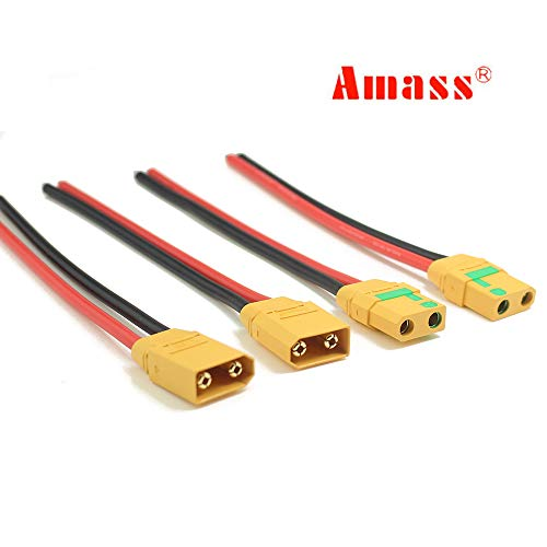 Amass 2 Pairs XT90S Pigtails XT90 Wire XT-90S XT 90 Plug Male and Female Connector 150mm 10AWG Silicon Wire for RC Lipo Battery FPV Racing Drone ...