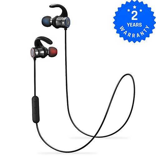 AC M2 Magnetic Wireless Earbuds Bluetooth Headphones Sport In-Ear IPX 4 Sweatproof Earphones with Mic (Super sound quality Bluetooth 4.1, aptx, 8 Hours Play Time, Secure Fit Design) (Black) by AC