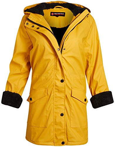 Urban Republic Ladies Hooded Vinyl Rain Jacket with Fur Lining (plus size available)