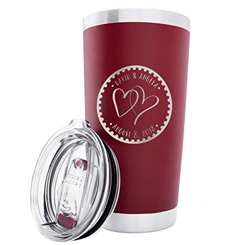Personalized Double Wall Tumbler Drinking Thermos Insulated Travel Mug | Different Color Options 20oz Tumbler - Couple Anniversary Heart to Heart Gift for Her Him Customize with Names and Date #T8