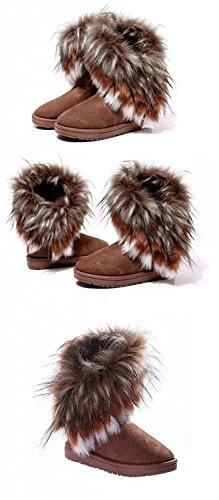 Minetom Femme Hiver Neige Cheville Flat Boots Chaudes Fourrure Chaussures Camel nlygBx1zt