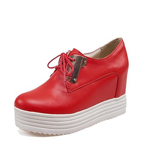 Schließen Hoher Weiches Pumps Rund Rein Rot Material Schnüren AllhqFashion Absatz Schuhe Damen Zehe 48qaCxwZ