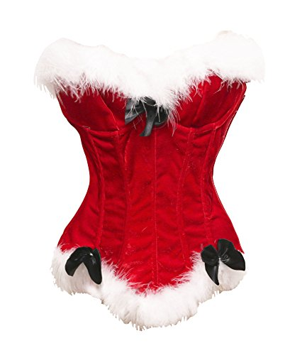 Bslingerie Sexy Christmas Santa Girl Costume Corset Top (S, Red)