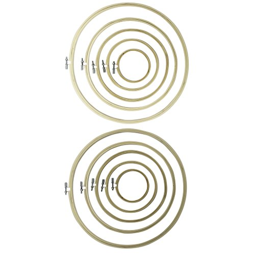 10 Piece Set of Handmade Round Wooden Embroidery Hoops by Curtzy - Bamboo Hoops for Sewing, Tapestry and Needle Craft Designs - The Best Set for Beginner and Professional - Flexible Embroidery Hoops